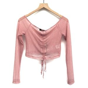 NWT Motel Dolls Kill Pink Sheer Crop Top - Size M